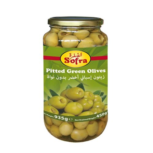 Sofra Pitted Green Olives 935g